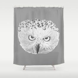 Snowy Owl Grey Shower Curtain