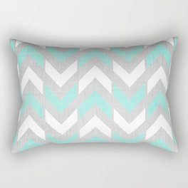 Teal & White Herringbone Chevron on Silver Wood Rectangular Pillow