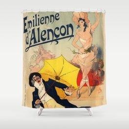 Folies Berg Res Emilienne D Alen On 1900 By Jules Cheret | Reproduction Art Nouveau Shower Curtain