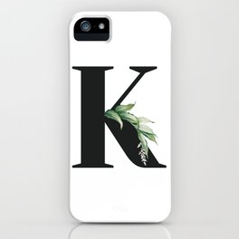 Letter K Initial Floral Monogram Black And White Poster iPhone Case