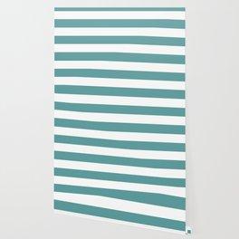 Cadet blue - solid color - white stripes pattern Wallpaper