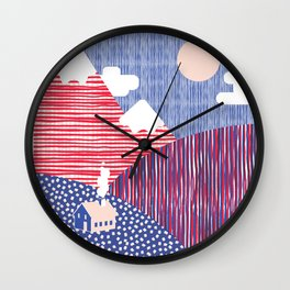 House in the Hills Pink & Blue Wall Clock