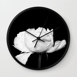 White Peony Black Background Wall Clock