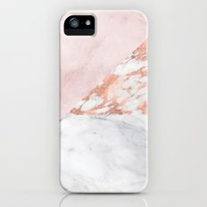 Mixed pinks rose gold marble iPhone SE Slim Case