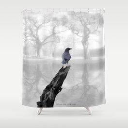 Crow On Misty Pond A114 Shower Curtain
