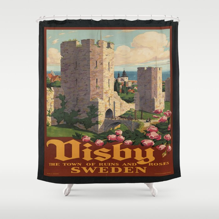 Vintage poster - Visby Shower Curtain