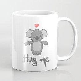 cute hand drawn lettering hug me with cartoon lovely koala bear Coffee Mug