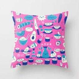 Sushi fun park Throw Pillow