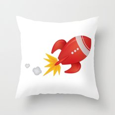 Retro Rocket Blast Off Throw Pillow