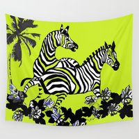 lime green Wall Tapestries featuring Zebras Lime Green and Black by Saundra Myles