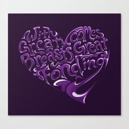 Breast Cancer Awareness Heart Canvas Print