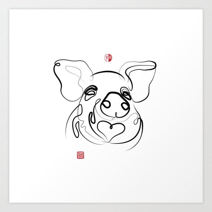 Pig Art Chinese New Year Of The Pig Original Zen Sumi E Ink