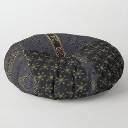 Fervent Alchemy (Faux Texture, Metallics on Black Tapestry) Floor Pillow