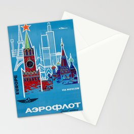 1968 Aeroflot / Аэрофлот - Europe To Moscow Vintage Airline Poster Stationery Cards