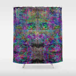 Senile Scream (abstract, psychedelic, visionary, glowing edges) Shower Curtain