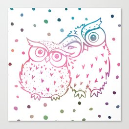 Owls - pink and blue Canvas Print