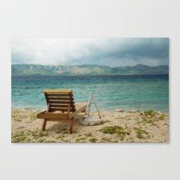 Beach, Chair, Mountains 2 Canvas Print