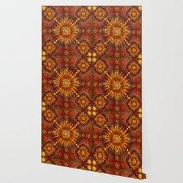 """Red Blood & Gold Vault Mandala (Gold stars)"" Wallpaper"
