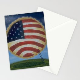American Pie in the Sky Flag Folk Art Stationery Cards