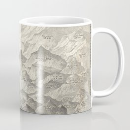 Vintage Map of Hills and Mountains in Great Britain, 1837 Coffee Mug