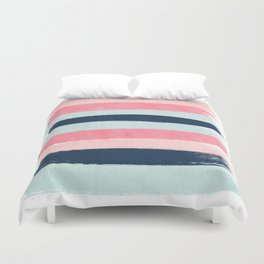 Striped painted coral mint navy pink pattern stripes minimalist Duvet Cover