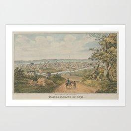 Vintage Pictorial Map of Cincinnati OH (1841) Art Print