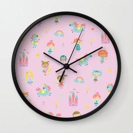 Fairies and unicorns Wall Clock
