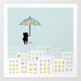 Umbrella Kitty Art Print