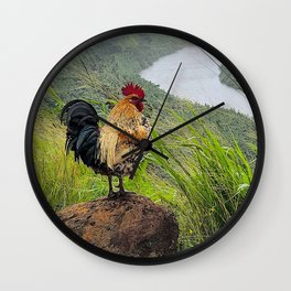 Famous Kauai Rooster Looking Out Over the Wailua River Wall Clock