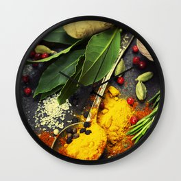 Spices and herbs. Food and cuisine ingredients. Wall Clock