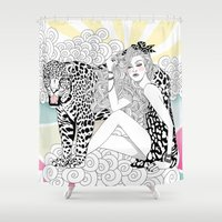 jaguar Shower Curtains featuring Jaguar by Hue Huynh