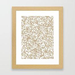 Small Spots - White and Khaki Brown Framed Art Print