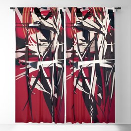 The Target- Red, Black and White Modern Abstract Blackout Curtain