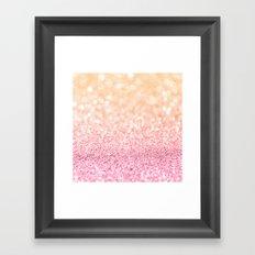 Pink and Orange Glitter Framed Art Print
