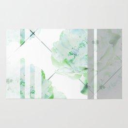 Abstract Geometric Lines Green Peonies Flowers Design Rug