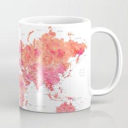 "Explore the world, hot pink watercolor world map, ""Tatiana"" Coffee Mug"