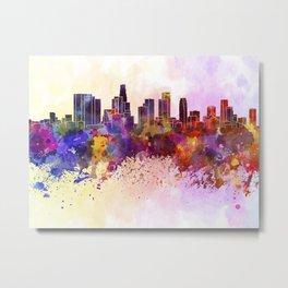 Los Angeles skyline in watercolor background Metal Print