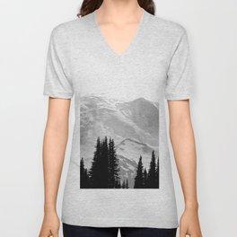 Mount Rainier Black and White Unisex V-Neck