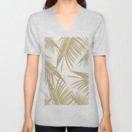 Gold Palm Leaves Dream #1 #tropical #decor #art #society6 Unisex V-Neck