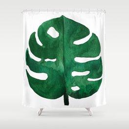 Tropical Monstera Green Leaf Shower Curtain