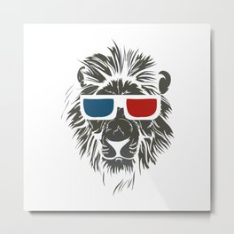 Lion with 3D sunglasses Metal Print