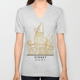 SYDNEY AUSTRALIA CITY STREET MAP ART Unisex V-Neck