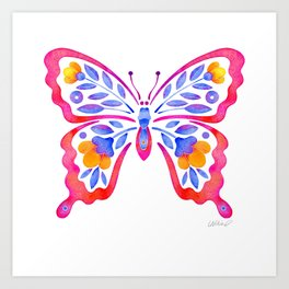 Colorful Floral Butterfly 3 Art Print