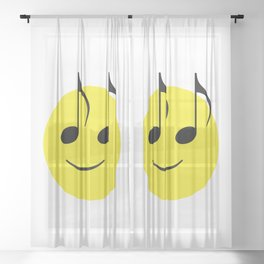 Happy Music Face Sheer Curtain