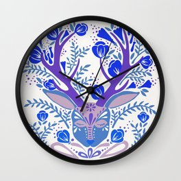 Floral Antlers – Blue Palette Wall Clock