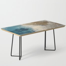 Embrace: a minimal, abstract mixed-media piece in blues and gold with a hint of pink Coffee Table