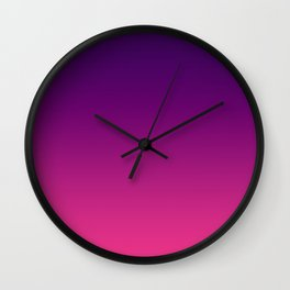 Ombre gradient digital illustration purple red colors Wall Clock