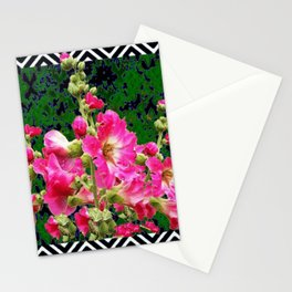 Fuchsia Pink Rose Color Holly Hocks Pattern Floral Art Stationery Cards