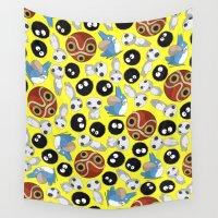 studio ghibli Wall Tapestries featuring Ghibli Pattern by pkarnold + The Cult Print Shop