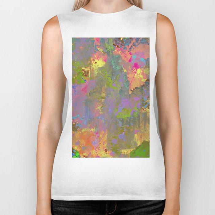 Messy Art II - Abstract, pastel coloured artwork in a random, chaotic, messy style Biker Tank